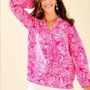 Lilly Pulitzer Elsa top, pink pawsitive cattit
